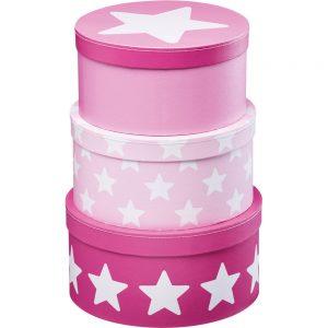 boites de rangement rose et étoiles