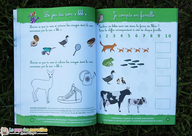 exercices sons et chiffres dans le cahier d'activités Montessori