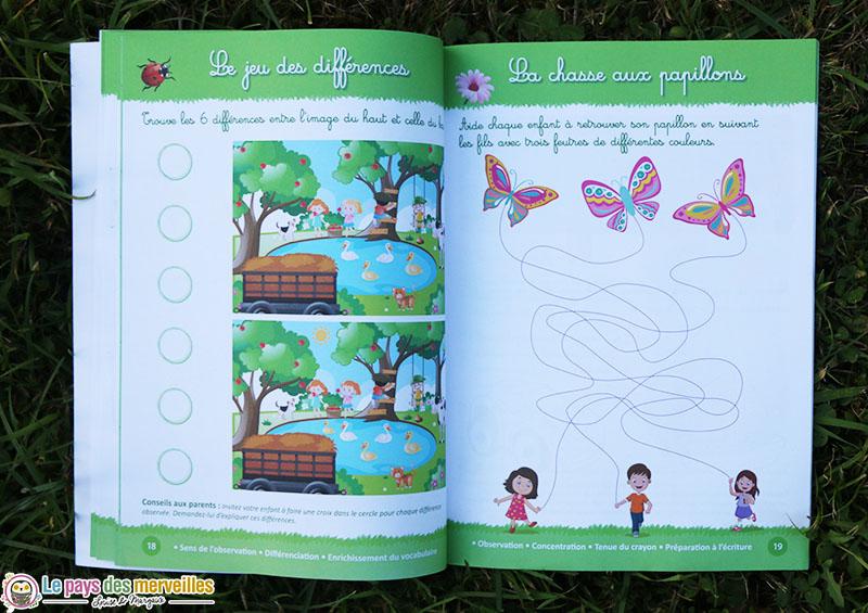 le jeu des différences et la chasse aux papillons