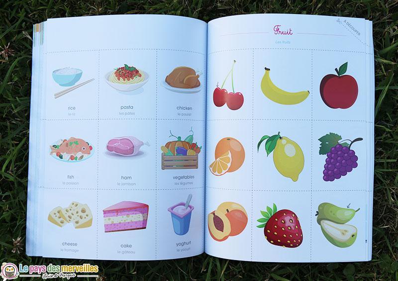 cartes de nomenclature des aliments en anglais