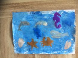 peinture au rouleau et eponge thème marin