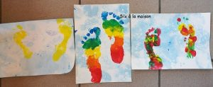 Peinture bulles empreintes de pieds