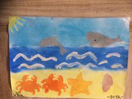 peinture sur le thème de la plage, réalisée par un enfant de 6 ans