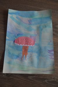Peinture de la pluie avec photo de l'enfant