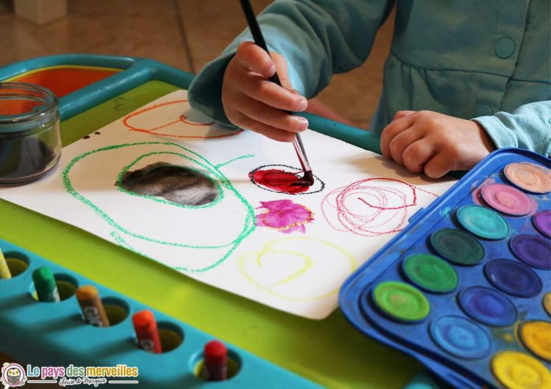 Art visuel peinture à l'eau et pastel