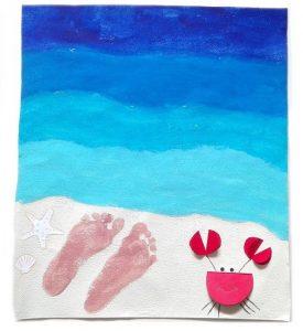 Tableau d'été représentant la mer et le sable