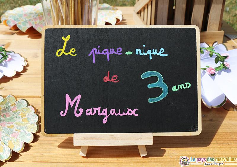 """Ardoise """"Le pique-nique de Margaux 3 ans"""""""