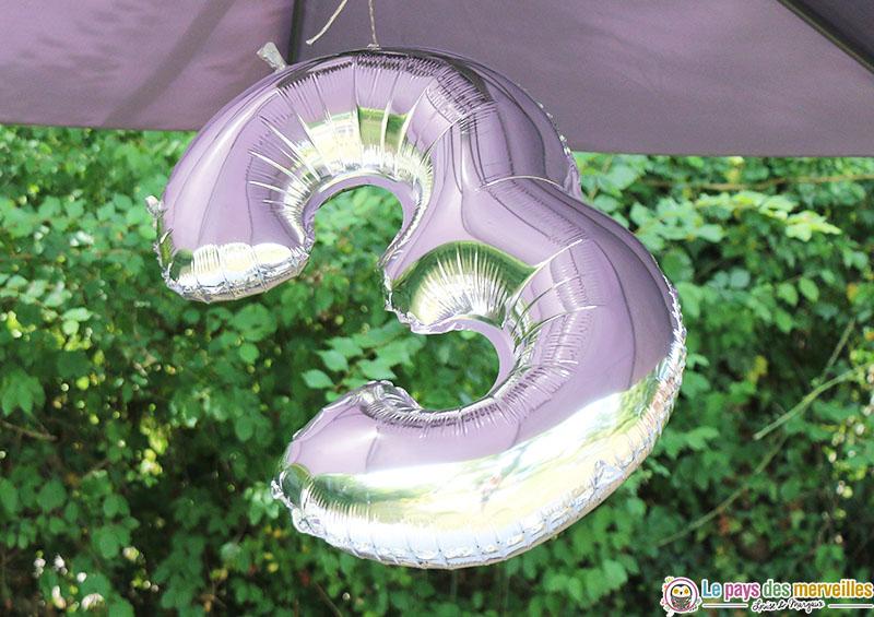ballon argenté géant chiffre 3