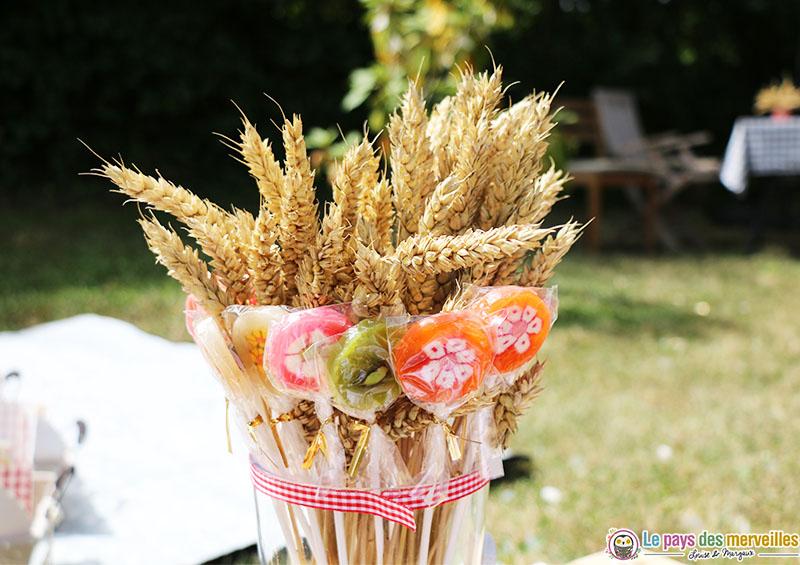 bouquet de blés et de sucettes