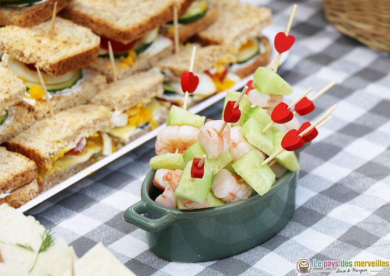 brochettes concombre crevette