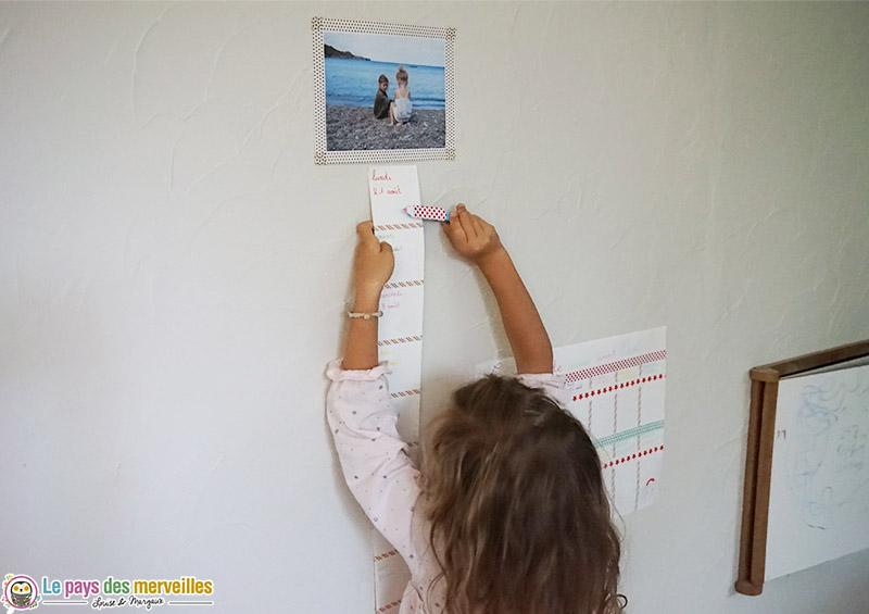Frise horizontale pour compter les jours avant la rentrée à l'école