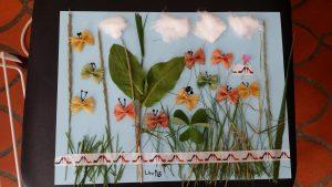 tableau papillon réalisé avec des pâtes peintes