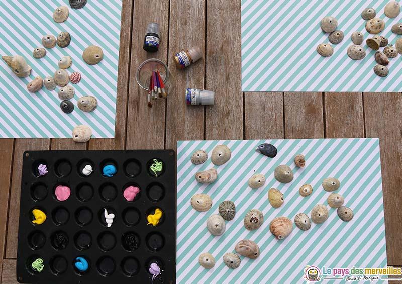 activité manuelle peinture sur coquillages