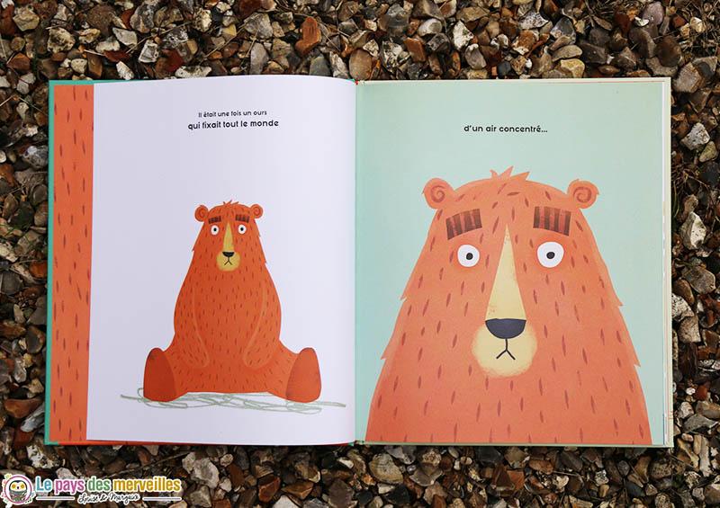 L'ours qui fixe, un album jeunesse sur le thème de la timidité