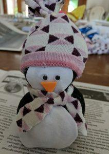 pingouin réalisé avec des chaussettes