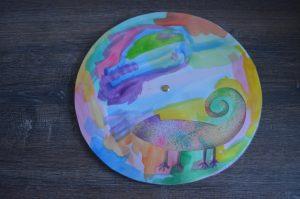 caméléon multicolore à partir du livre Une histoire de caméléon