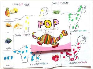 activité pour maternelle d'après le livre Pop mange de toutes les couleurs
