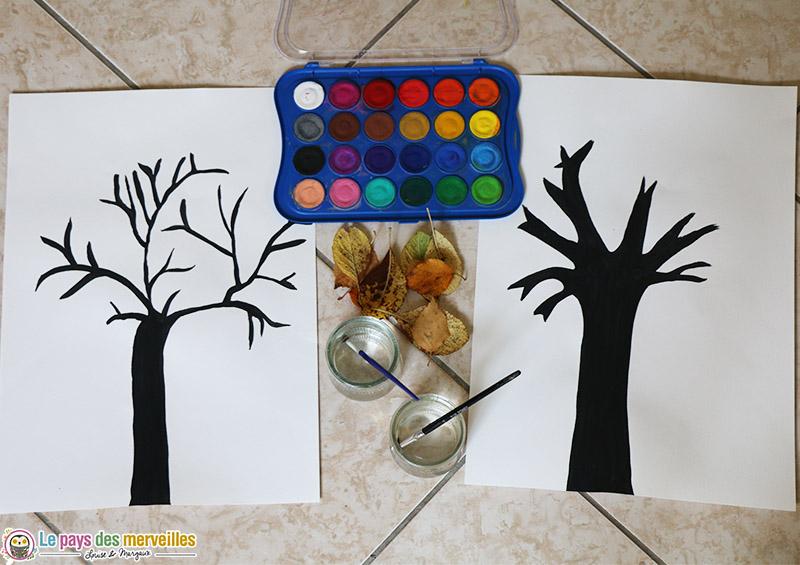 matériel pour réaliser un arbre d'automne en peinture