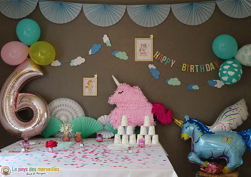 anniversaire licorne pour la f te d 39 anniversaire de ses 6 ans. Black Bedroom Furniture Sets. Home Design Ideas