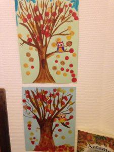 arbre d'automne avec des feutres pour loto