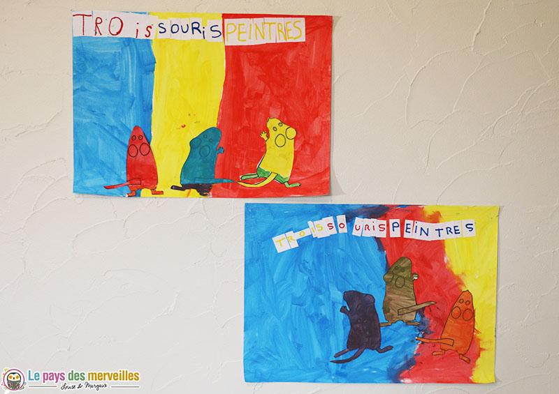 peinture d'après le livre des Trois souris peintres
