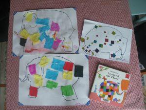 collage de papier crépon et gommettes à partir du livre Le nouvel ami d'Elmer