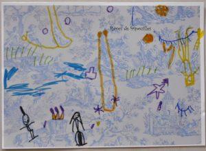 dessins sur toile de jouy d'après le livre Louna et la chambre bleue