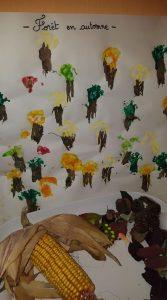 forêt d'automne peinte avec des brocolis