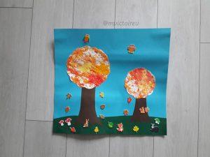 fresque d'automne avec des arbres peints avec des marrons