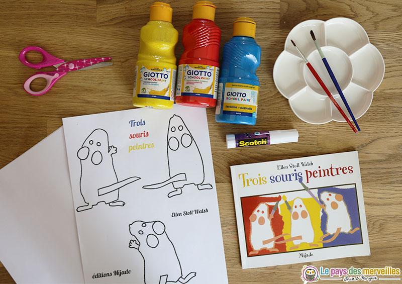 matériel pour activité à partir du livre trois souris peintres