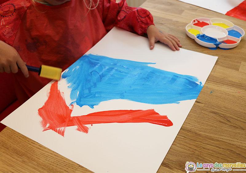 peinture bleue et rouge