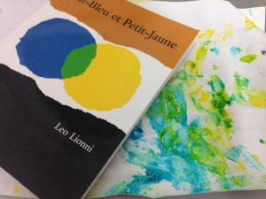 peinture à partir du livre Petit-Bleu et Petit-Jaune