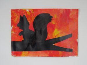 peinture automne silhouette écureuil noire