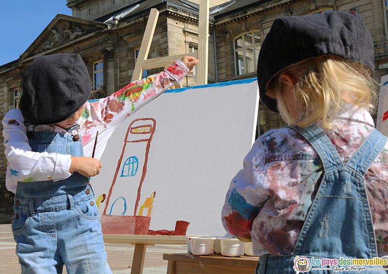 Peinture avec chevalet devant le musée des beaux-arts de Rouen