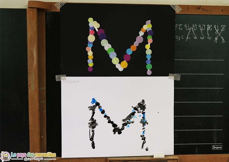 décorer l'initiale de son prénom en maternelle