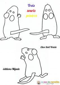 coloriage à imprimer trois souris peintres