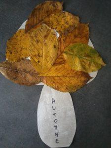 champignon d'automne en collage de feuilles