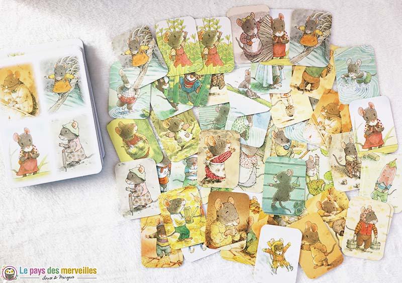 Cartes illustrées du loto de la famille Souris