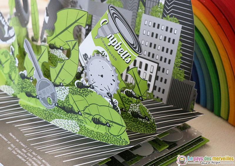 Livre pop-up sur le thème des fourmis par Elmodie