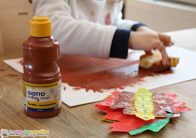 peinture automnale à l'éponge