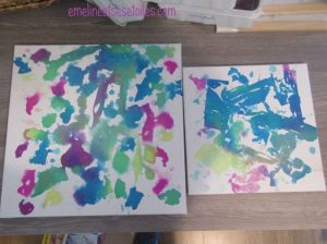 peinture avec du papier crépon humide