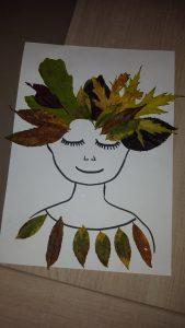 visage collage feuilles d'arbre