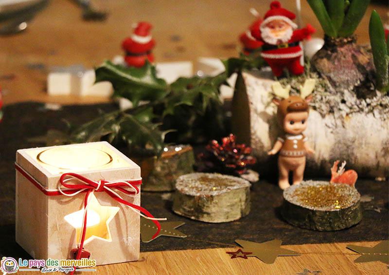 déco de table bois pour Noël