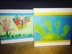 peinture empreinte de pied pour faire un soleil