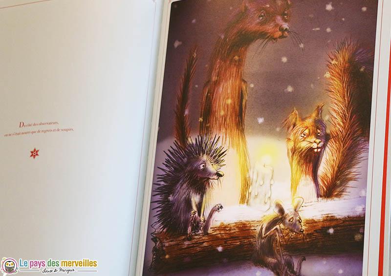 """Dessins de Dedieu dans """"Un Noël pour le loup"""""""