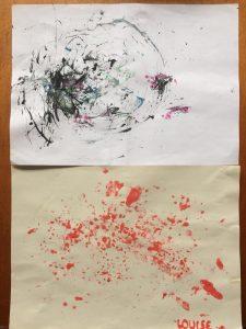 Peinture avec une pomme de pin