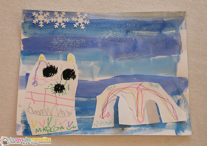 Art visuel sur le thème de l'hiver Petite section maternelle
