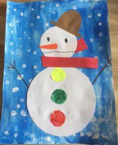 Bonhomme de neige avec de la peinture et du collage
