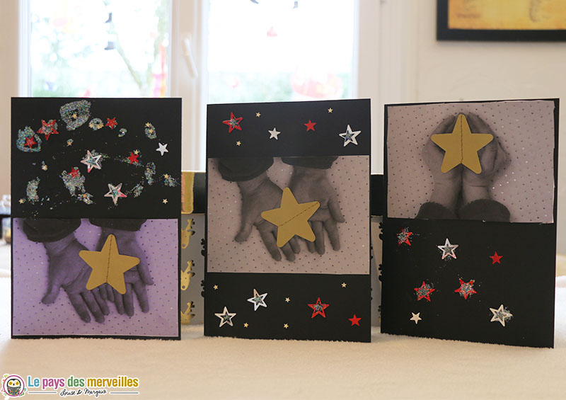 cartes de voeux étoile dans les mains