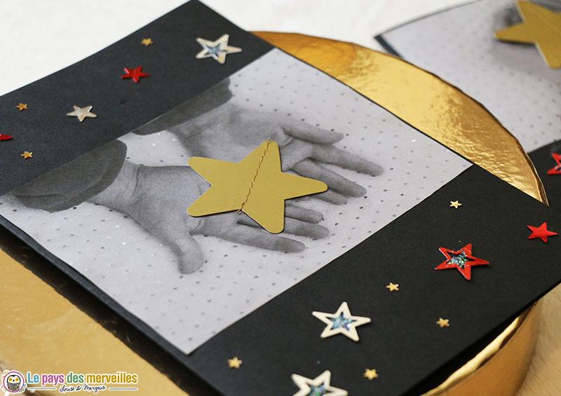 Bricolage carte de voeux étoile photo mains